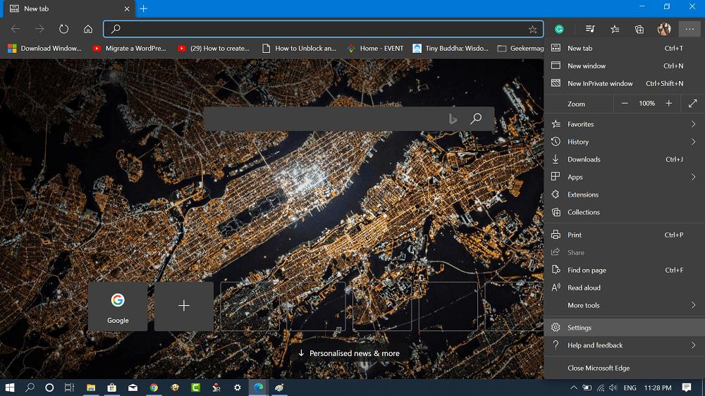 Chromium edge browser settings
