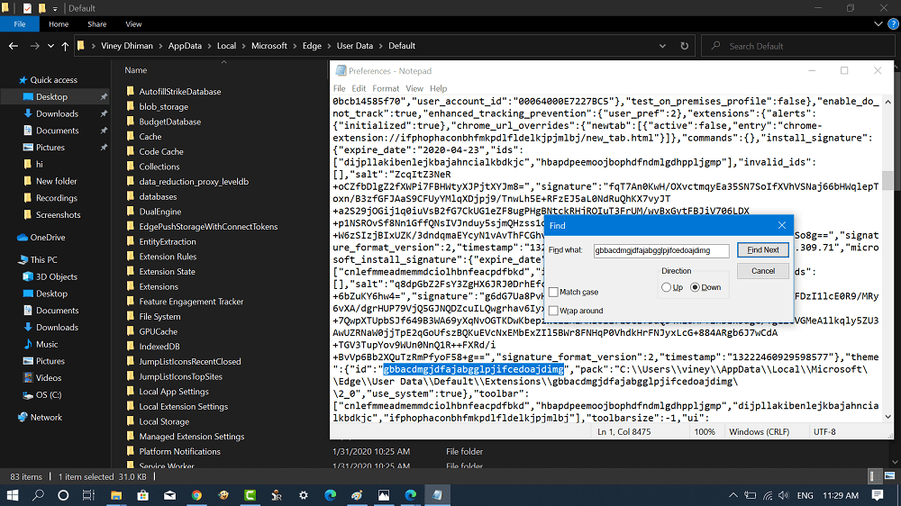 find edge theme id in edge preferences file