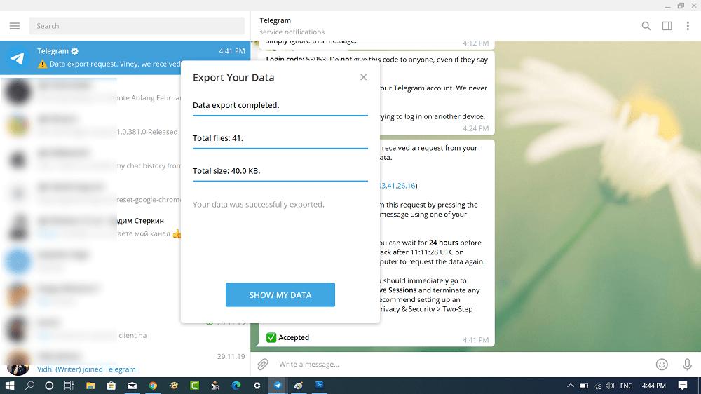 Export your data in telegram for desktop