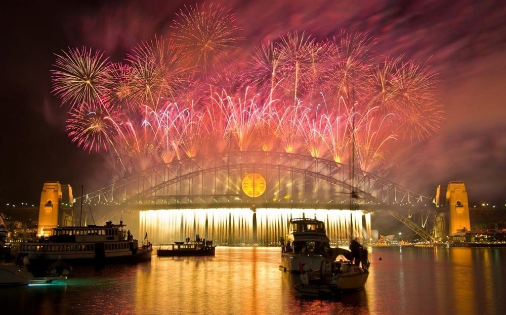 fireworks on new year theme for windows 10