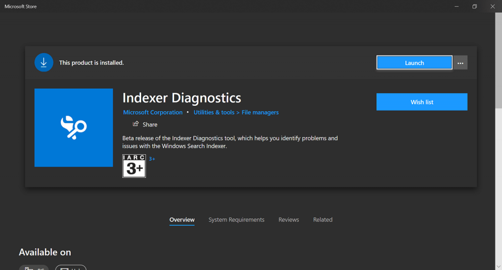 Download Indexer Diagnostics app for Windows 10