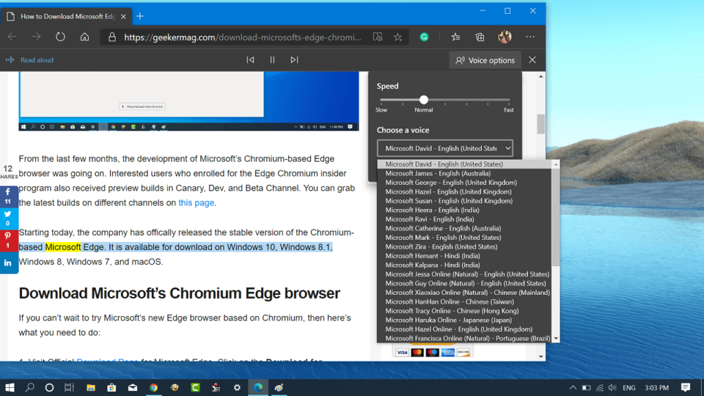 How to Use Read Aloud (Text to Speech) Feature in Microsoft Edge Chromium