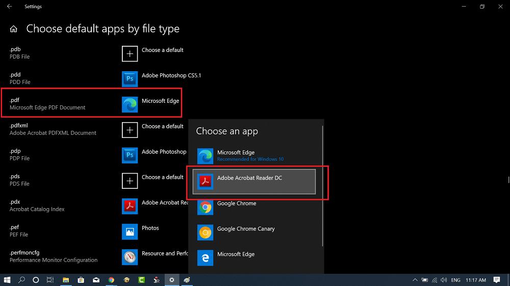 Select pdf viewer in windows 10 settings app