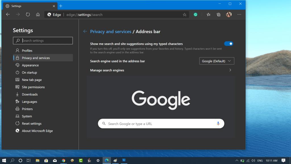 Set Google as Default Search in Microsoft Edge Chromium