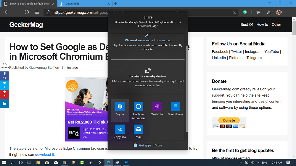 microsoft edge chromium share dialog box