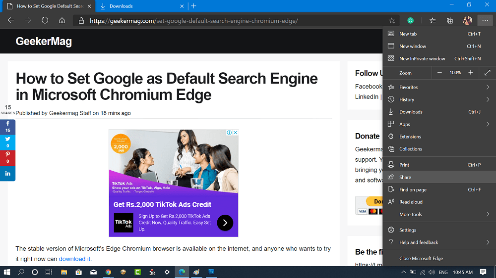 Microsoft Edge - Share option