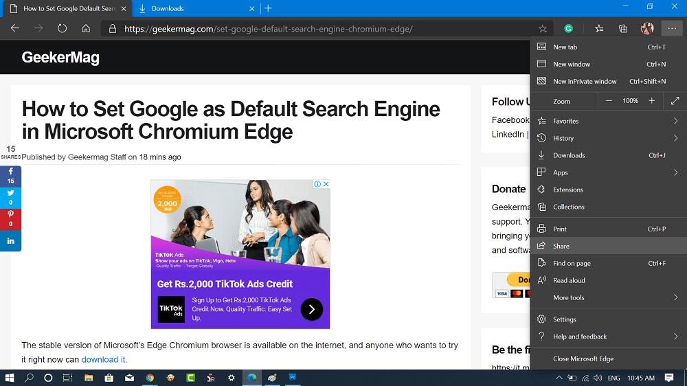 Microsoft Edge - Share option