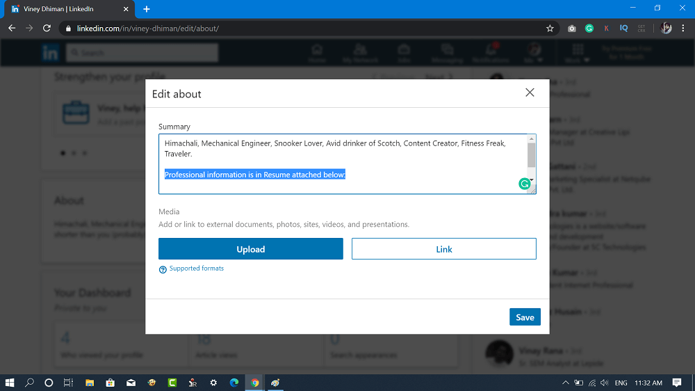 add summary in about section in linkedin