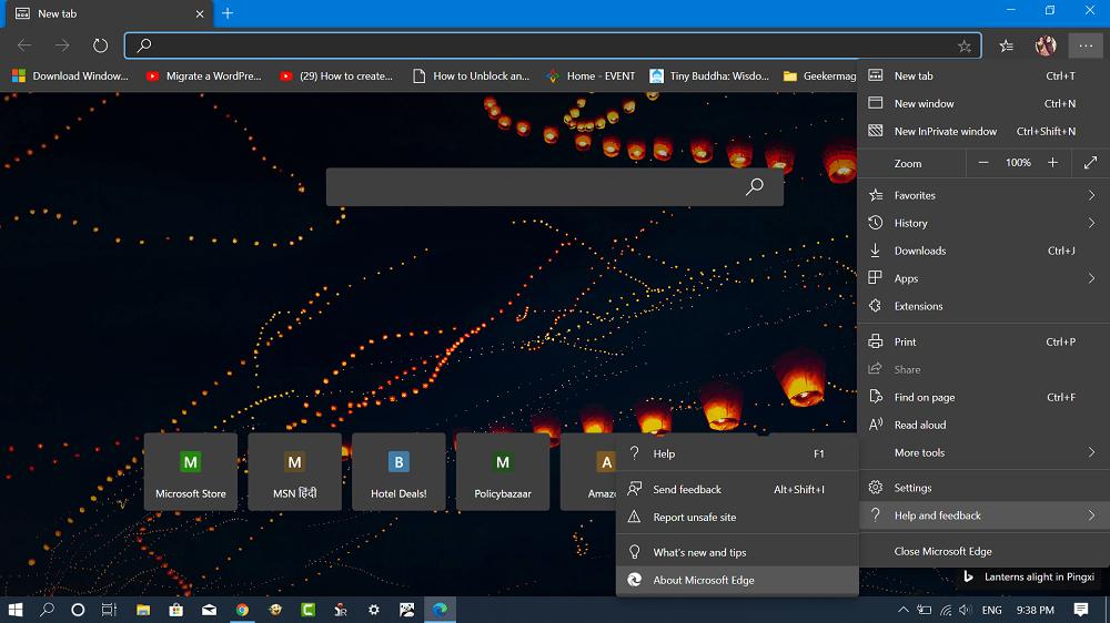 microsoft edge menu - help and feedback