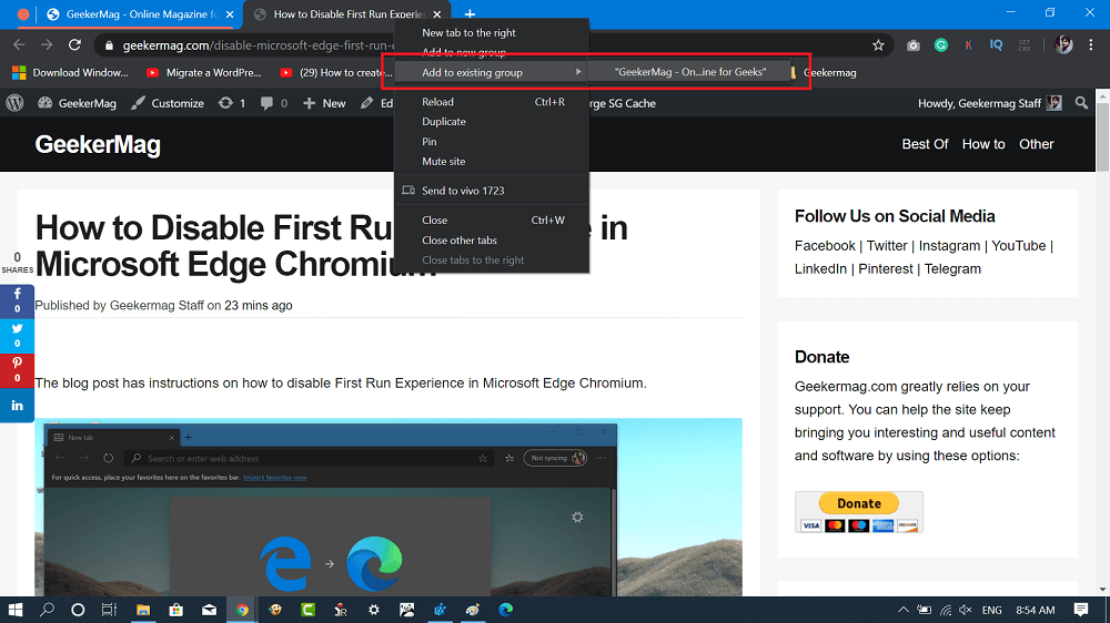 add new tab to existing tab in chrome browser