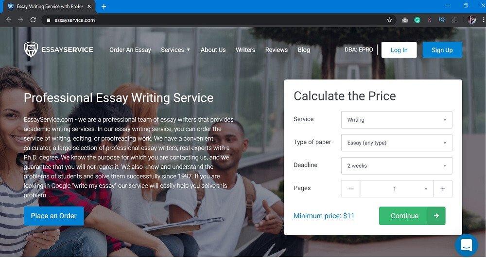 EssayService = professional essay writing service