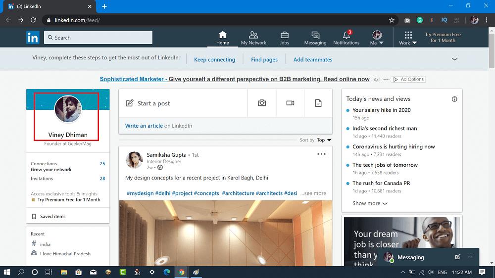 Linkedin feed page
