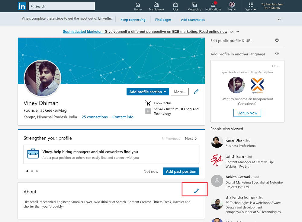 edit about section in linkedin