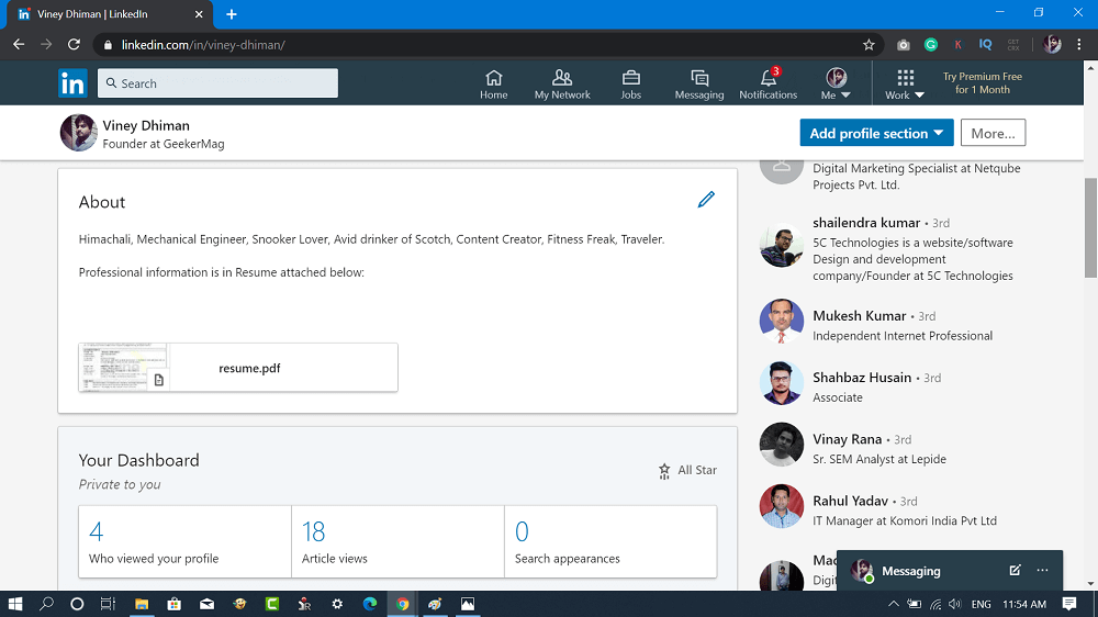 upload resume in about section on linkedin