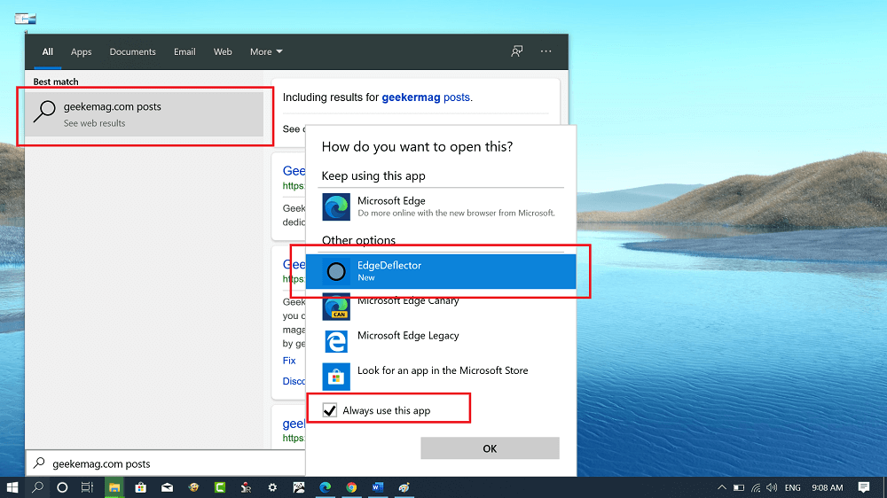 select edgedeflector as default web browser in windows 10