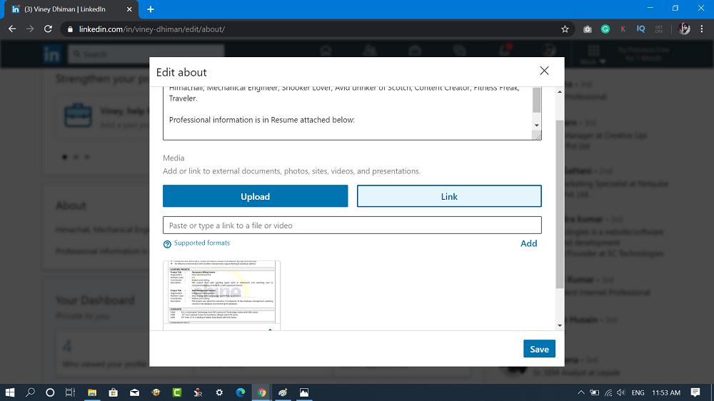upload resume to linkedin via link