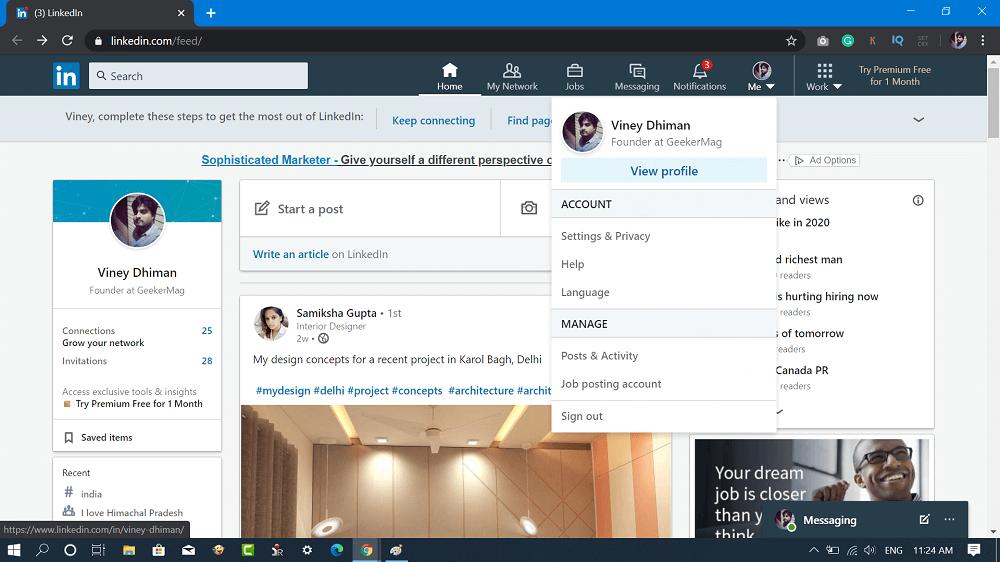 View profile option in linkedin
