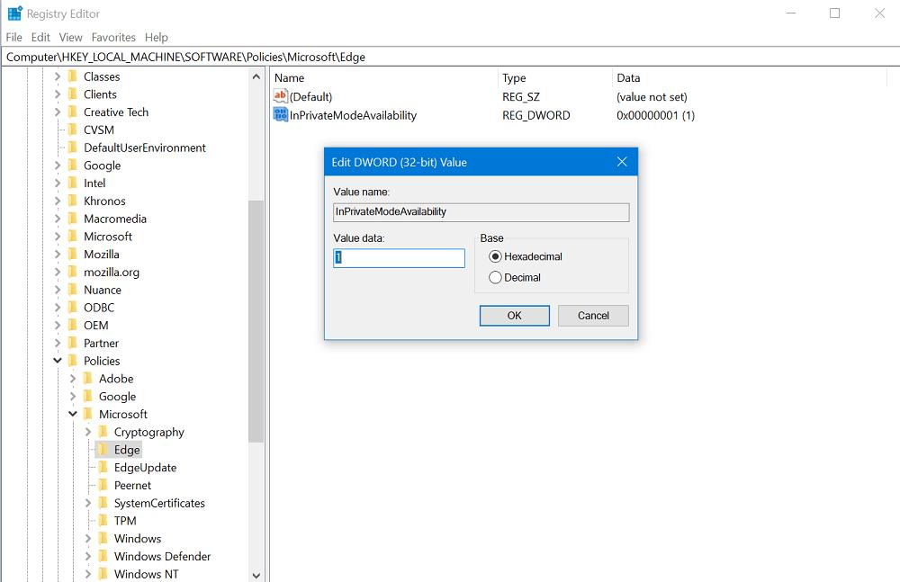 microsoft edge InPrivateModeAvailability