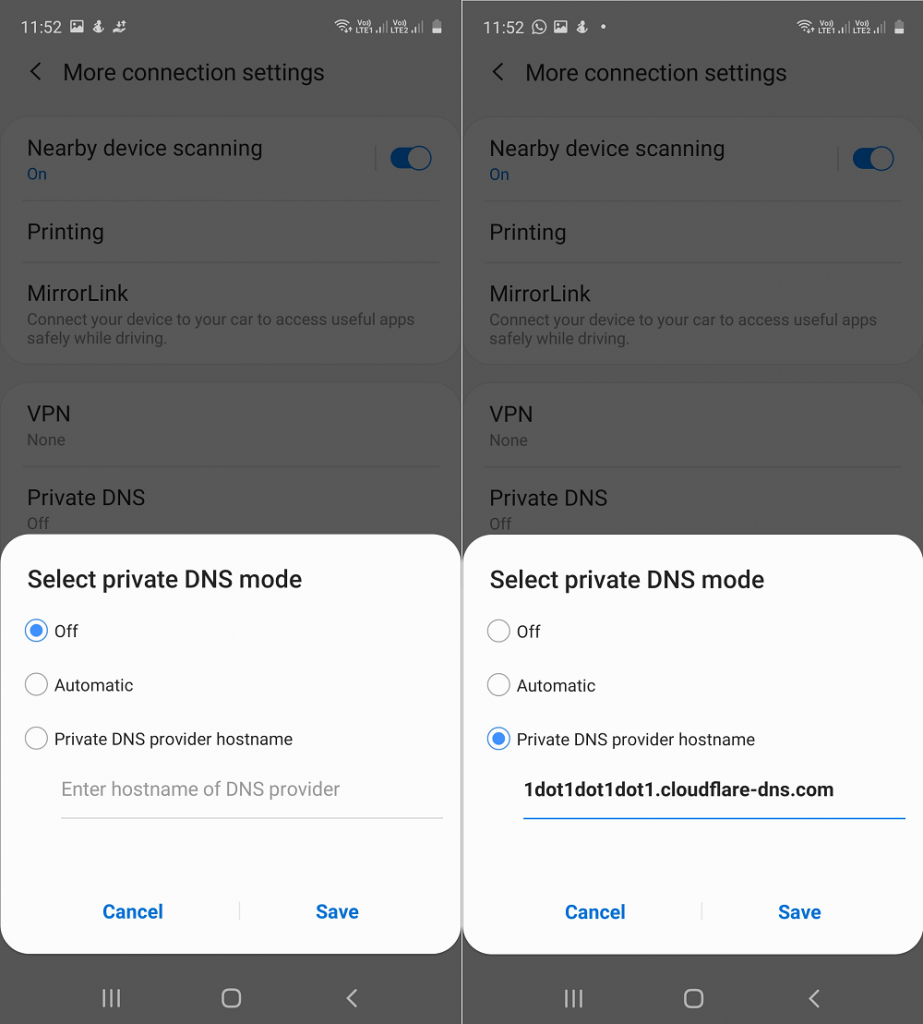 select private dns mode in samsung galaxy phone