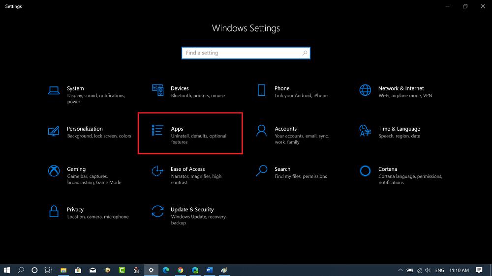apps settings in settings app in windows 10