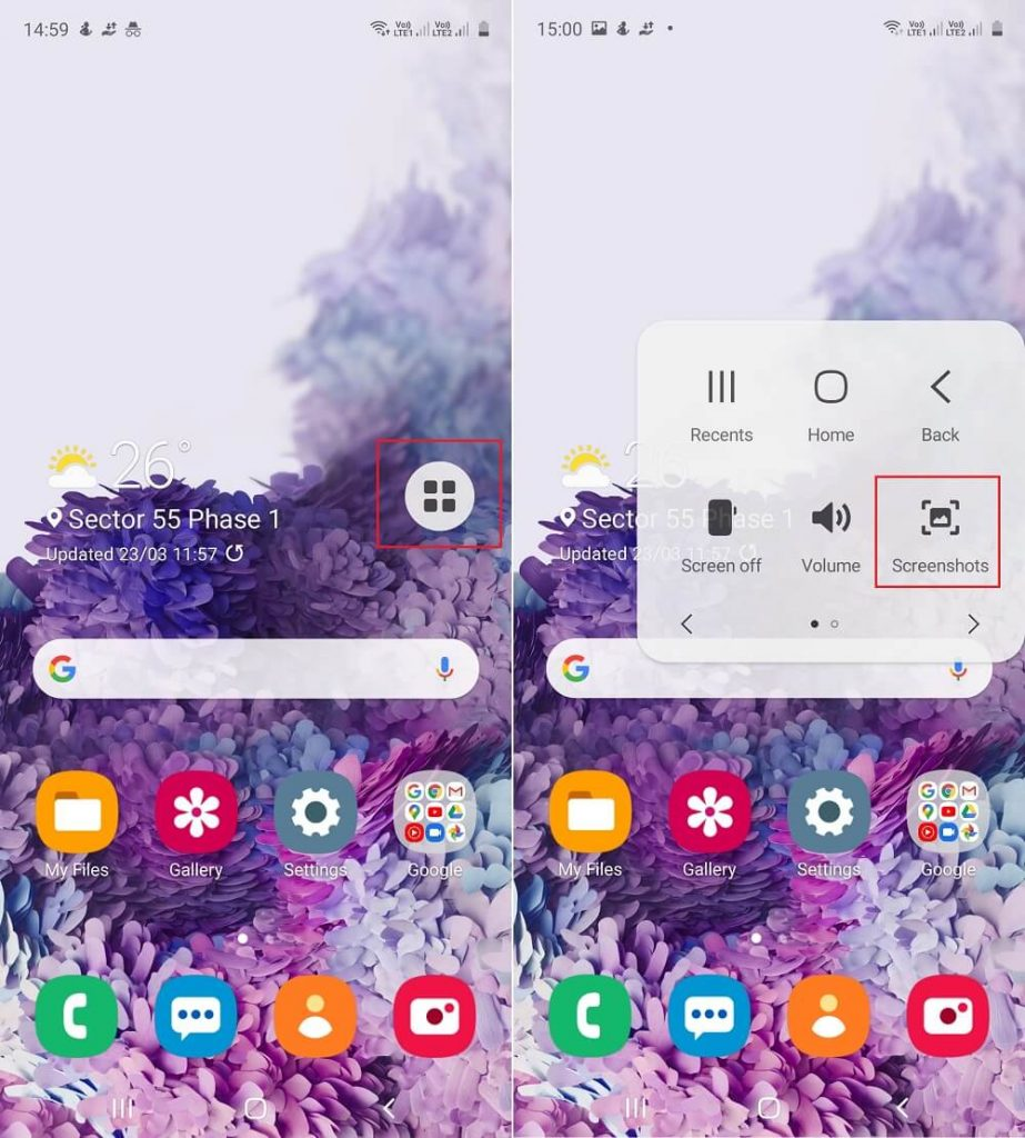 how to take screenshot in galaxy a51 using Assistive touch menu