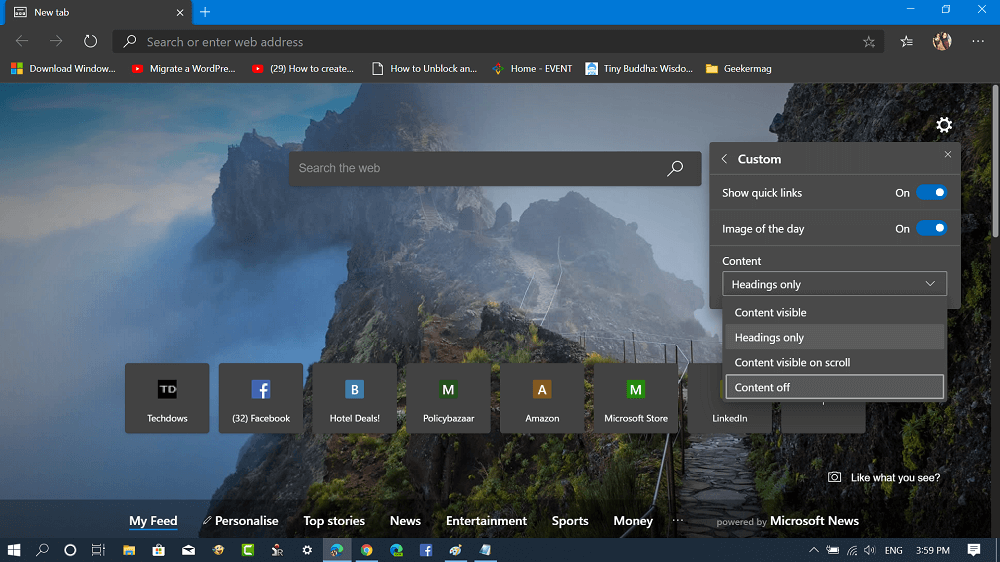 microsoft edge page layout - content off