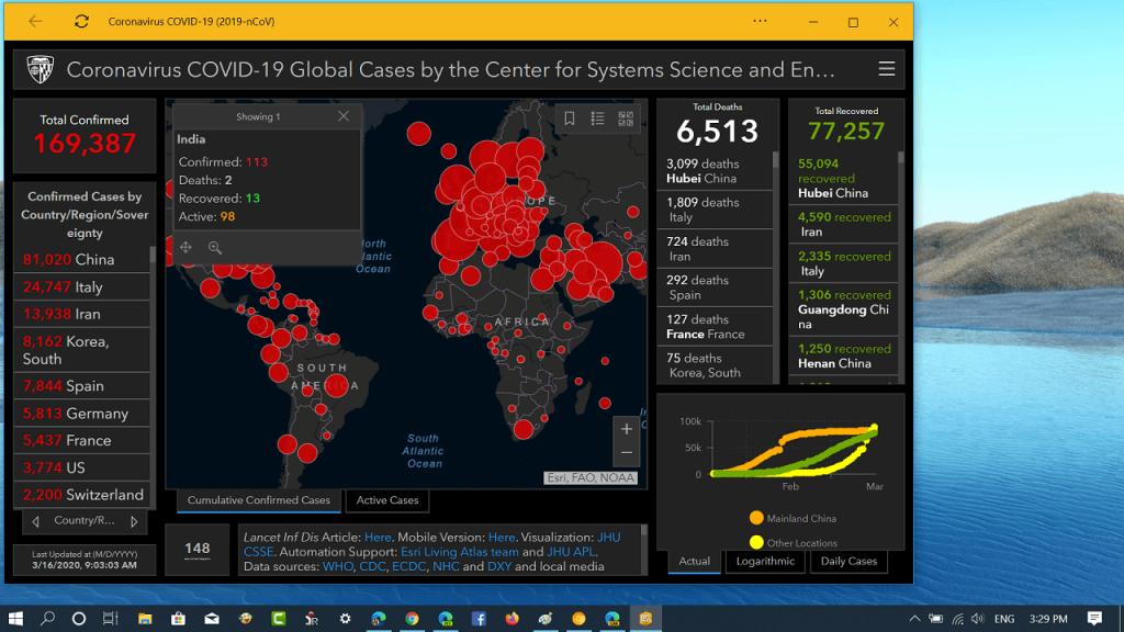 How to Use Bing Corona Virus Tracker app