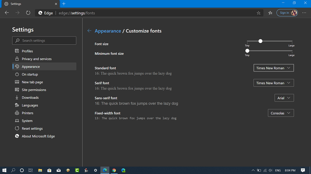 change font type in microsoft edge