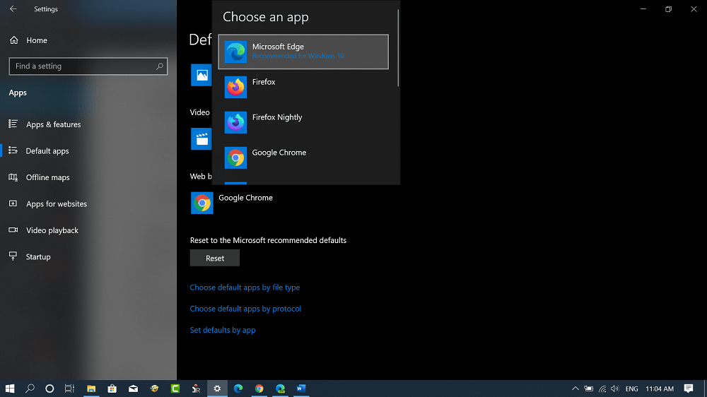 set default browser in windows 10
