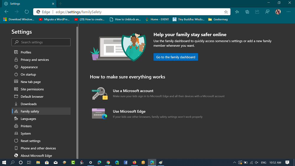 family safety tab in microsoft edge
