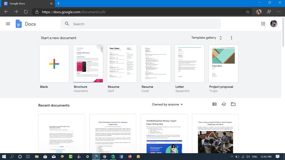 open google doc bank document in Microsoft edge