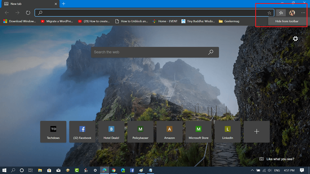 hide favorites button from toolbar in microsoft edge