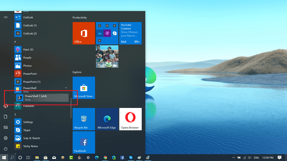 launch powershell 7 from windows 10 start menu