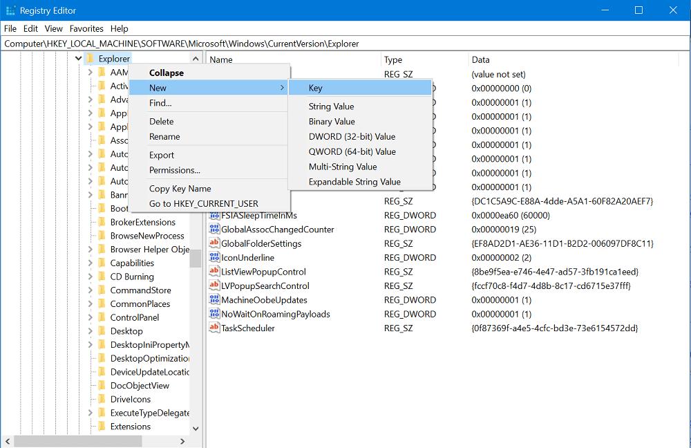Create new subkey in under explorer key in windows 10