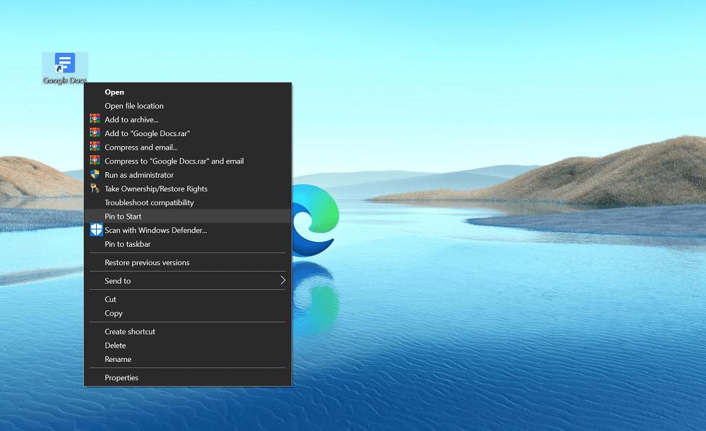 pin app to start menu or taskbar in windows 10