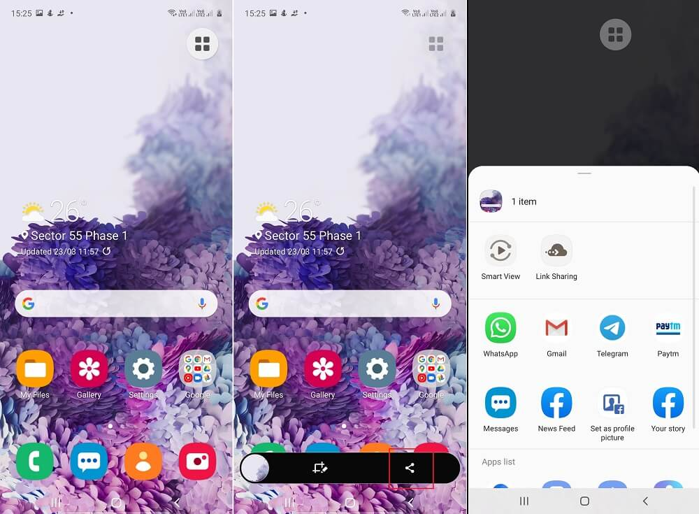 how to share screenshot in samsung galaxy a51