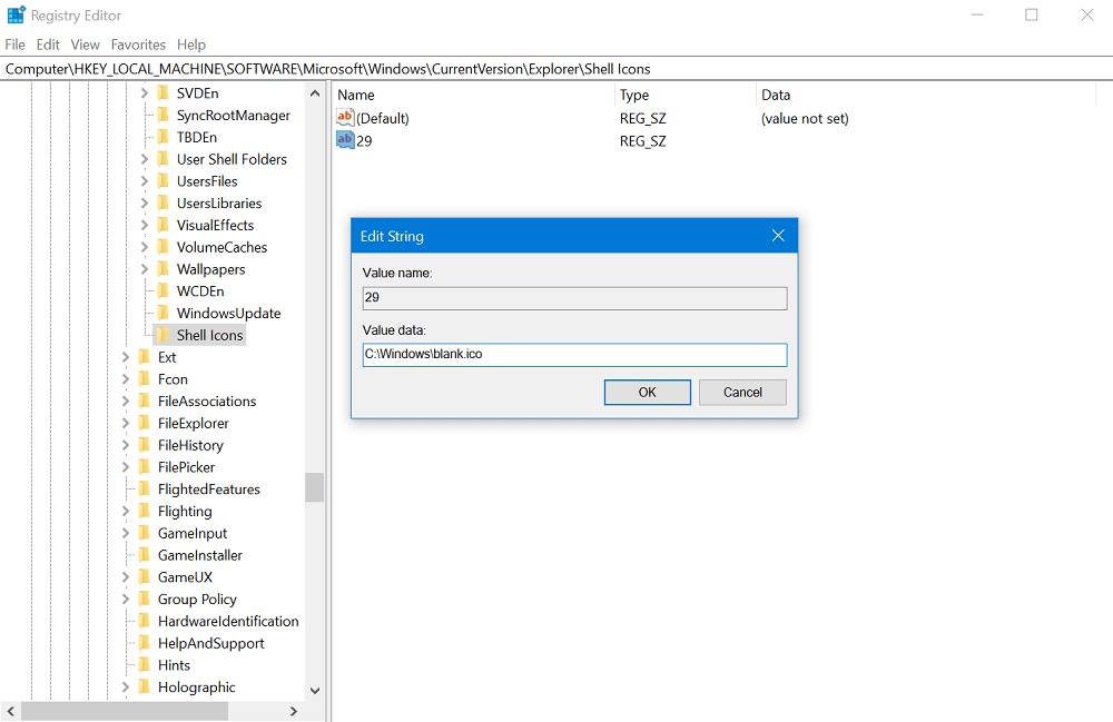 set string value data in windows 10