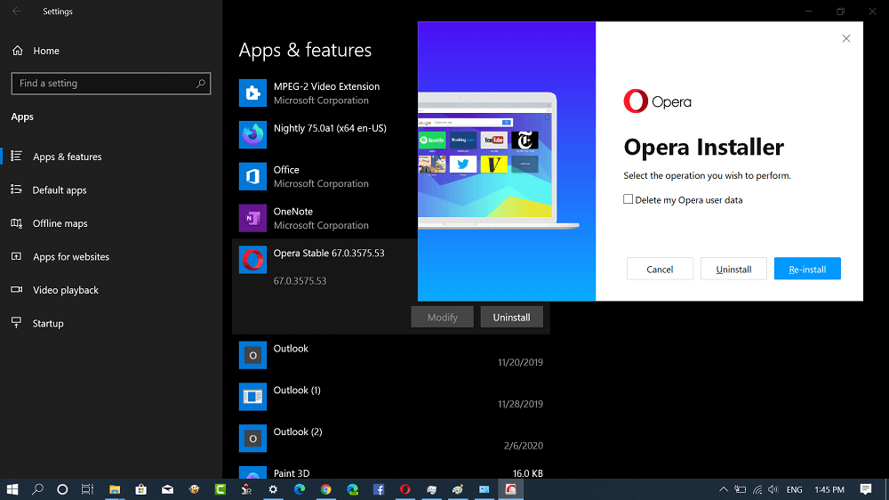 uninstall opera browser from windows 10