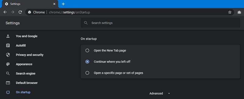 Chrome continue where you left off