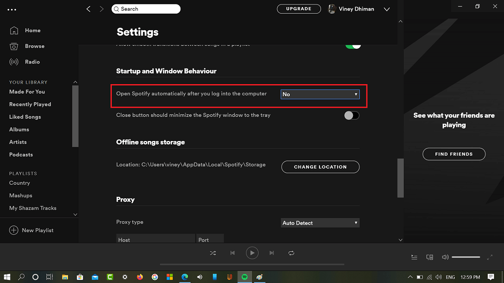 Open Spotify automatically after you log into the computer