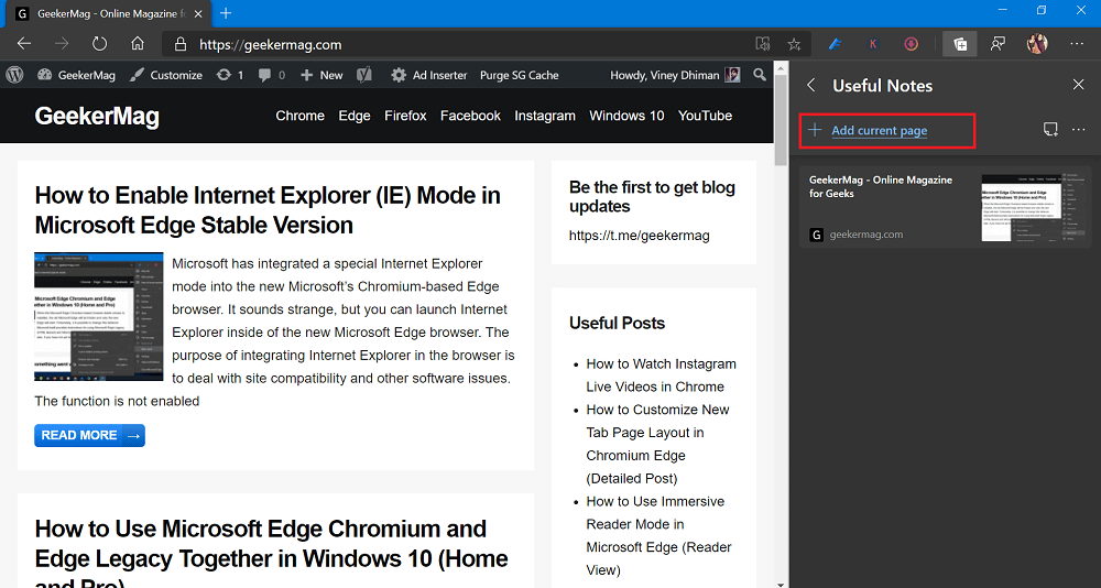 add current page in collection in Microsoft edge