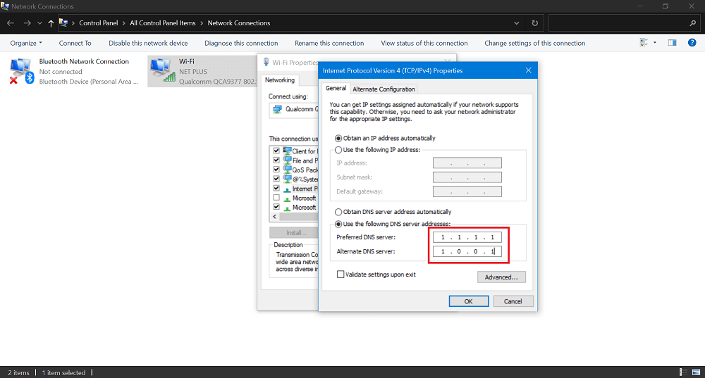 add cloudflare open dns in windows 10