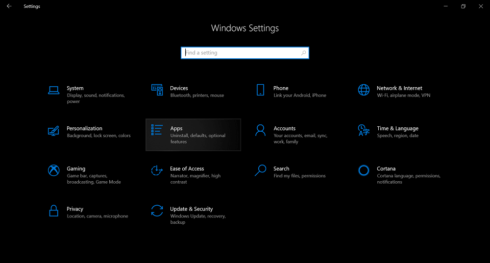 apps option in windows 10 settings app