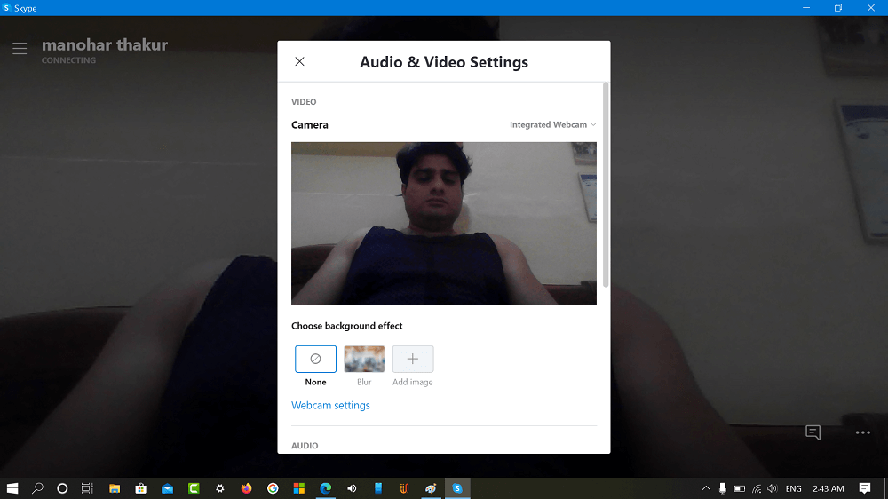 audio and video settings for skype
