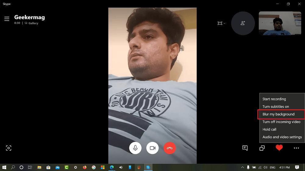 blur background in skype for windows 10 app