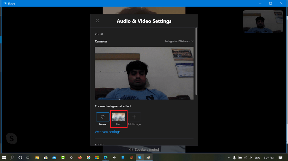Blur option in Audio and video settings