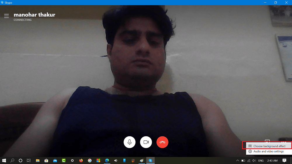 Change background effect option in skype