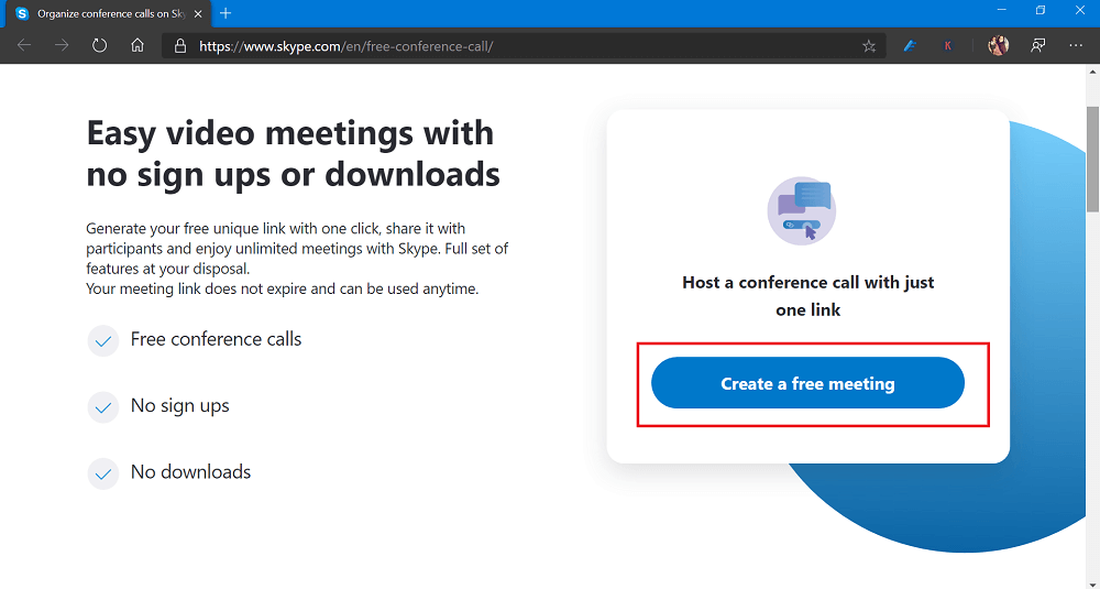 create a video meeting in skype video conferencing call