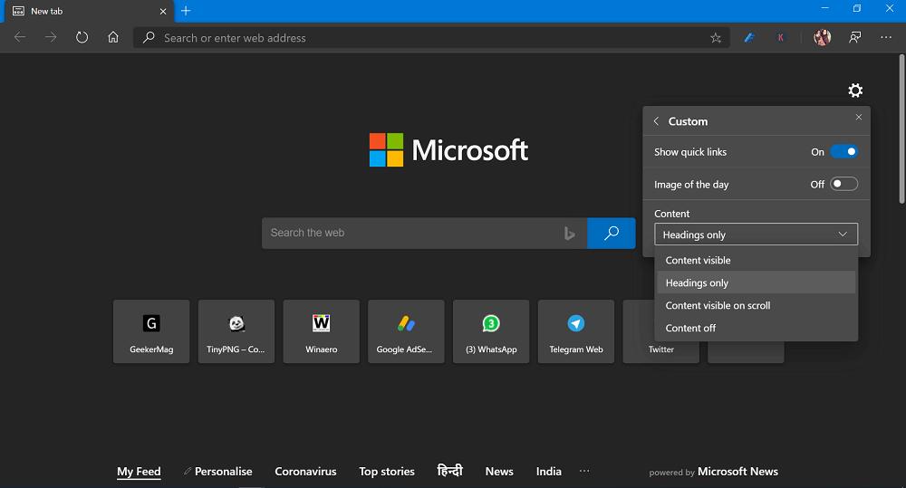 custom layout in microsoft edge new tab page