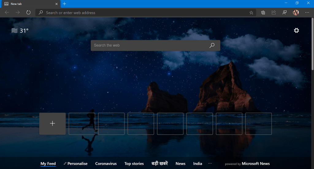 Set Custom Image as New Tab Page Background in Microsoft Edge